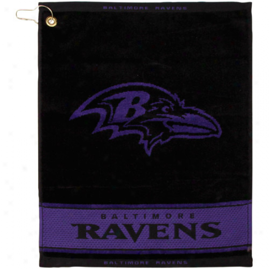 Baltimore Ravens Black-purple Woven Jacquard Golf Towel