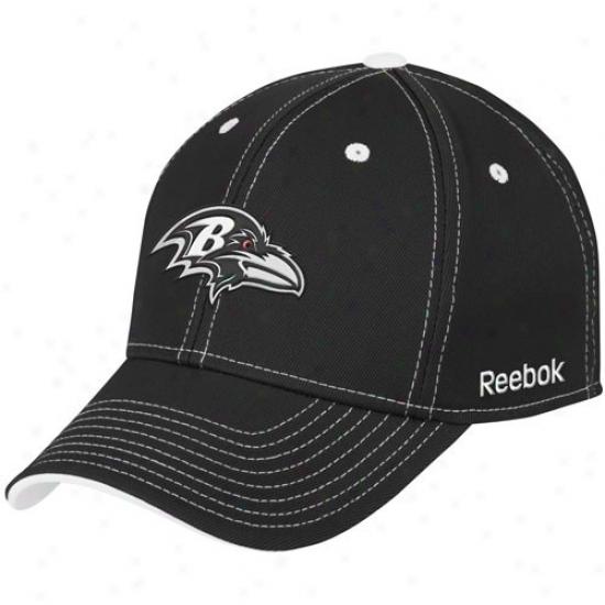 Baltimore Ravens Cap : Reebok Balfimore Ravens Black Structured Flex Cap