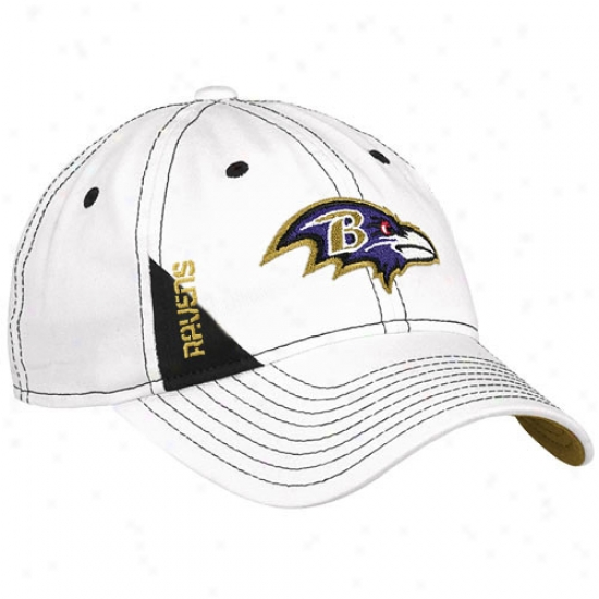 Baltimore Ravens Cap : Reebok Baltimore Ravens Youth White Official 2010 Draft Day Flex Fit Cap