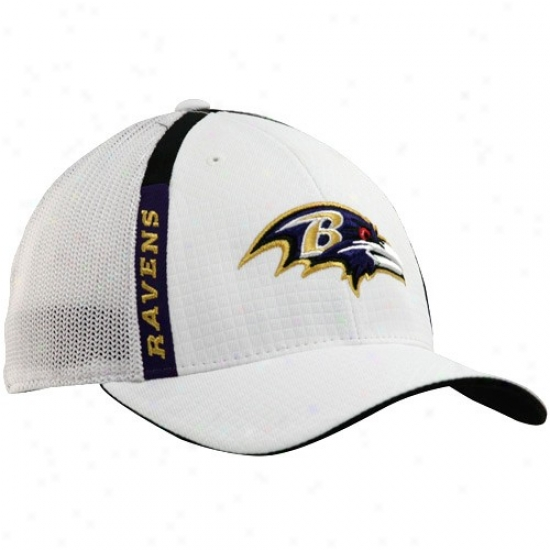 Baltimore Ravens Gear: Reebok Baltimore Ravens White Structured Mesh Back Flex Fit Hat