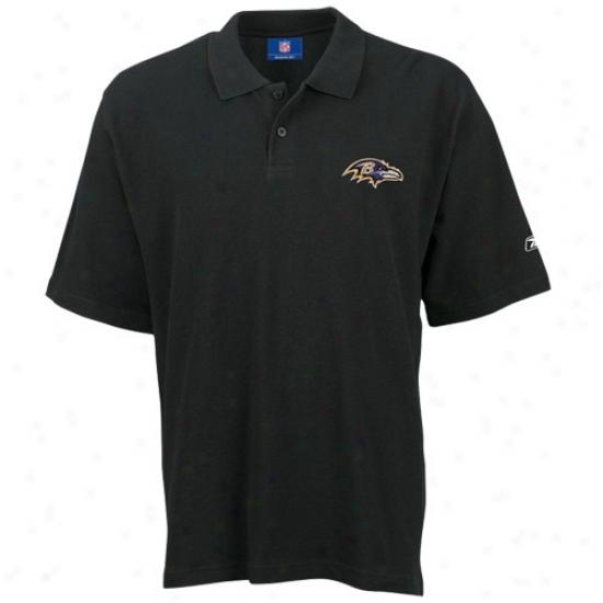 Baltimore Ravens Golf Shirts : Reebok Baltimore Ravens Black Golf Shirts