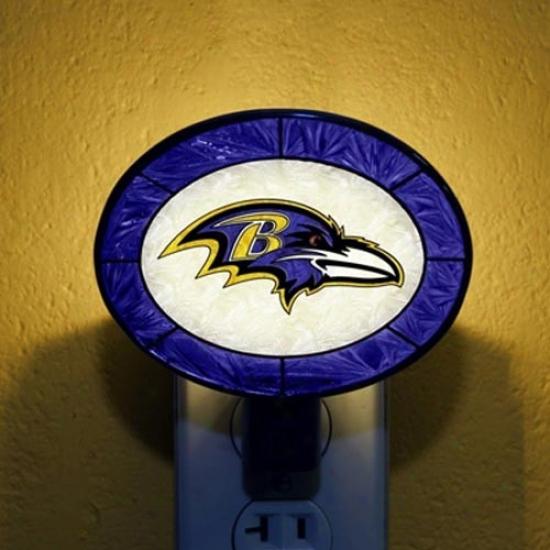 Baltimore Ravens Hand-painted Glass Nightlight