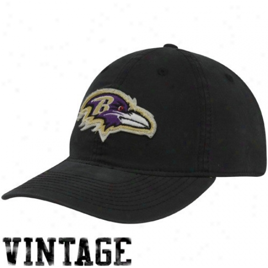 Baltimore Ravens Hat : Reebok Baktomore Ravens Black Distressed Logo Slouch Flex Fit Hat