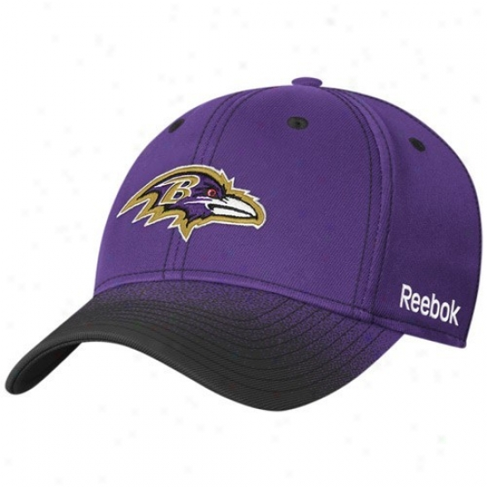 Baltimore Ravens Ha5s : Reebok Baltimore Ravens Youth Purple Fadeout Sideline 2nd Season Flex Fit Hats