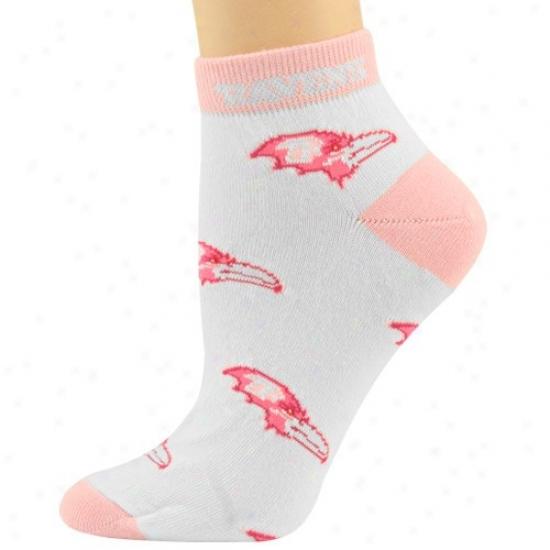 Baltimore Ravens Ladies White-pink All Over Team Logo Ankle Socks