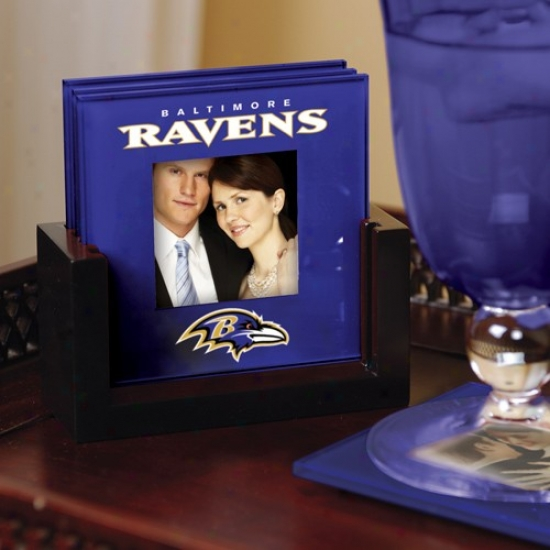 Baltimore Ravens Purpls 4-packk Photo Coaster Set
