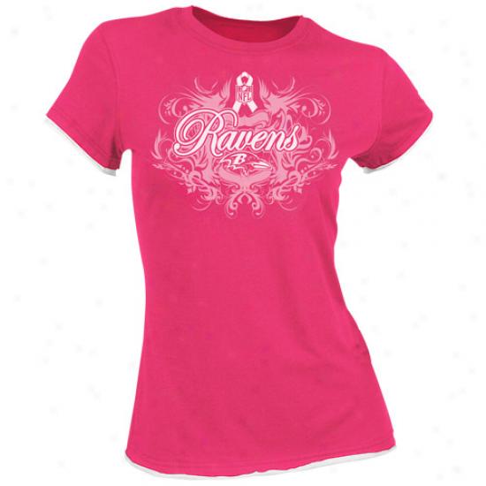 Baltimore Ravens Shirt : Reebok Baltimore Ravens Ladies Pink Breast Cancer Awareness Boast Tissue Premium Shirt