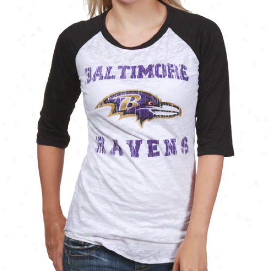 Baltimore Ravens Shirts : Reebok Baltimore Ravens White-black Huddle Up Raglan Burnout 1/2 Sleeve Shirts