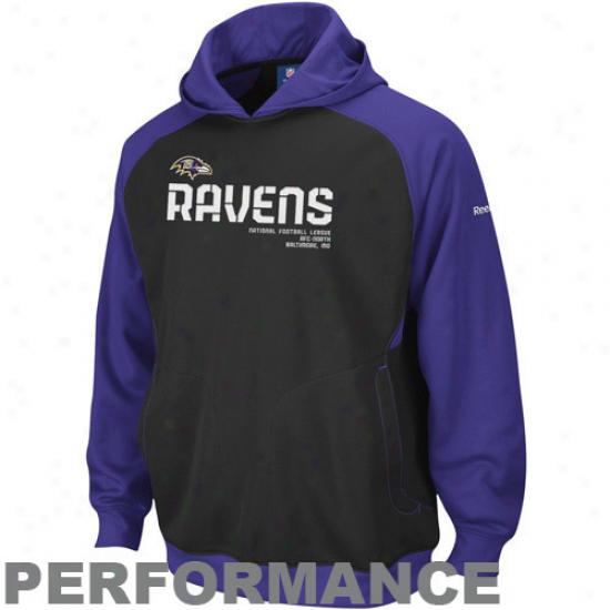 Baltiore Ravens Sweatshirt : Reebok Baltimore Ravens Black Sideline Performance Pullover Sweatshirt