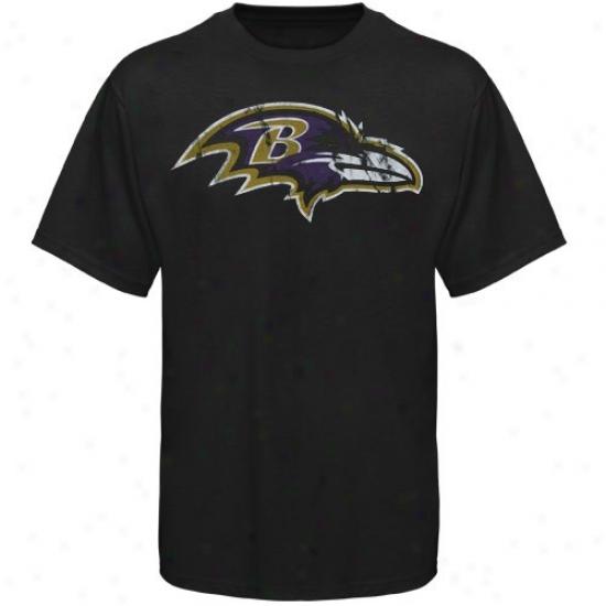 Baltimore Ravens T Shirt : Baltimore Ravens Black Vintage Logo T Shirt