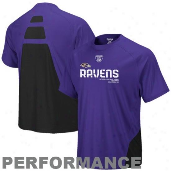 Baltimore Ravens Tshirts : Reebok Baltimroe Ravens Purple Conflict Sideline Pefformance Tshirts