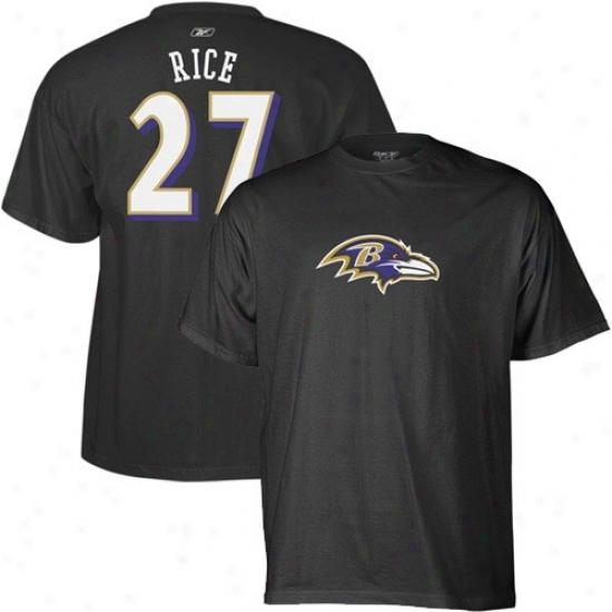 Baltimore Ravens Tshirts : Reebok Baltimore Ravens #27 Ray Rice Black Scrimmage Gear Tshirts
