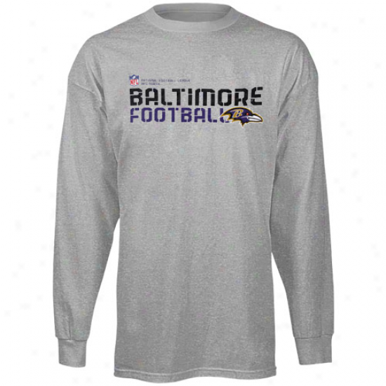 Baltimore Ravens Tshirts : Reebok Baltimore Ravene Youth Ash SidelineS tatement Long Sleeve Tzhirts