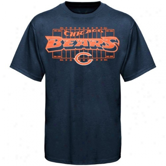 Bears Attire: Reebok Bears Youth Navy Blue Aerial Football Field T-shirt