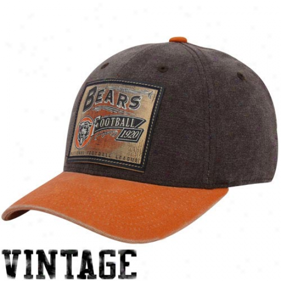 Bears Cap : Reebok Bears Brown-orange Pro Shape Vintage Flex Fit Cap
