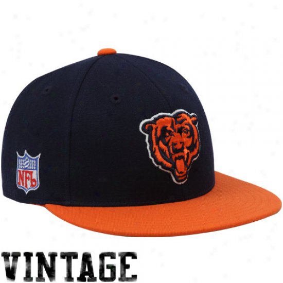 Bears Gear: Reebok Bears Navy Blue-orange Vintage Fitted Hat