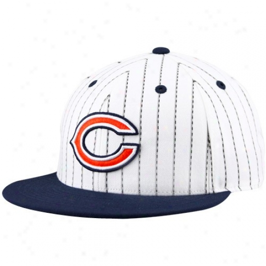Bears Gear: Reebok Bears White-navy Blue Pinstripe Pro Form  Flat Bill Fitted Hat