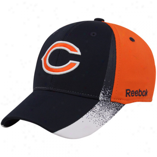 Bears Hat : Reebok Bears Navy Bludorange Spray Paint Structured Flex Fit Hat