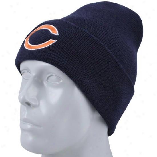 Bears Hat : Reebok Bears Youth Navy Blue Basic Logo Cuffed Knit Beanie