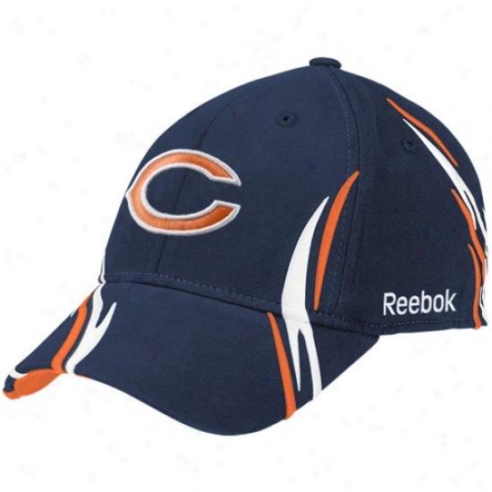 Bears Hats : Reebok Bears Navy lBue Tiller Structured Flex Fit Hats