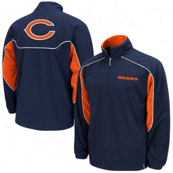 Bears Hoodies : Reebok Bears Navy Blue Final Score 1/4 Zip Pullover Hoodies Jacket