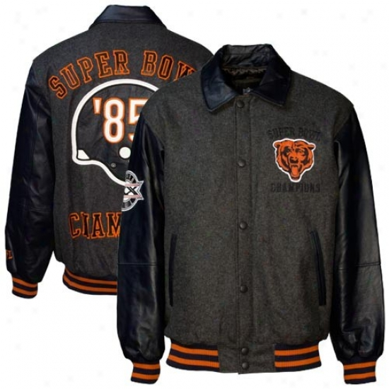 Bears Jacket : Bears Charcoal Wool/leather Super Bowl Champions Commemorative Jacket