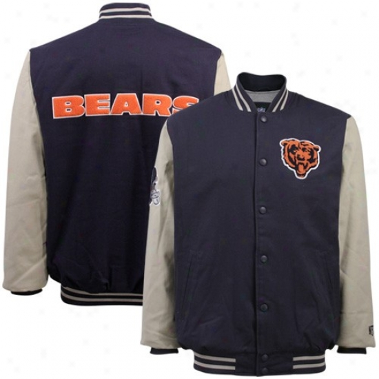 Bears Jackets : Bears Navy Blue-khaki Classic Full Button Canvas Jackets