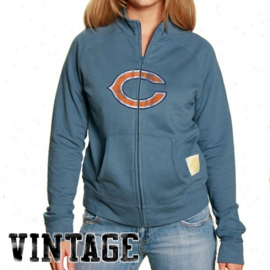 Bears Jackets : Reebok Bears Ladies Light Blue Better Logo Full Zip Vintage French Terry T5ack Jackets