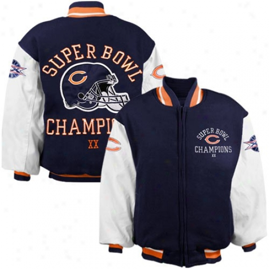 Bears Jackets : Reebok Bears Youth Navy Blue Super oBwl Xx Champions Reversibld Heavyweight Jackets