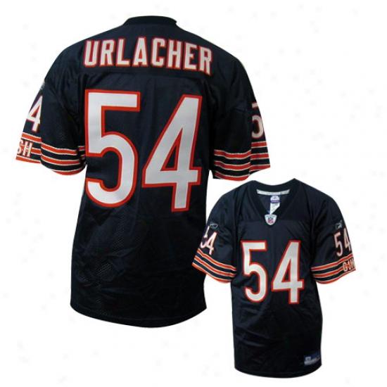 Bears Jersey : Reebok Nfl Equipment Bears #54 Brian Urlacher Navy Trustworthy Football Jersey