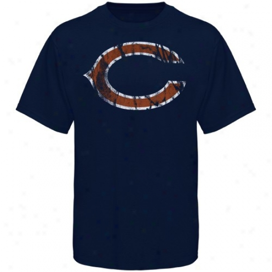 Bears Shirts : Bears Navy Blue Vintage Logo Slom Fit Shirts
