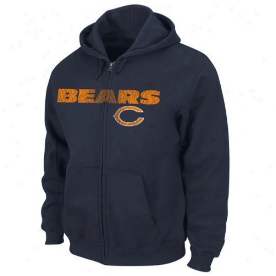 Bears Stuff: Bears Navy Blue Touchback Iii Full Zip Hoody Sweatshirt