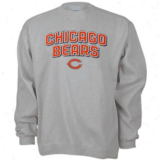 Bears Sweatshirt : Reebok Bears Ash Double Arch Crew Sweatshirt