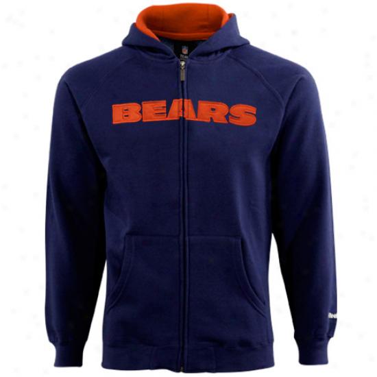 Bears Sweatshirts : Reebok Bears Youth Ships of war Blue Sportsman Full Zip Sweatshirts