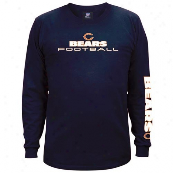 Bears T-shirt : Bears Navy Blue Team Shine Long Sleeve T-shirt