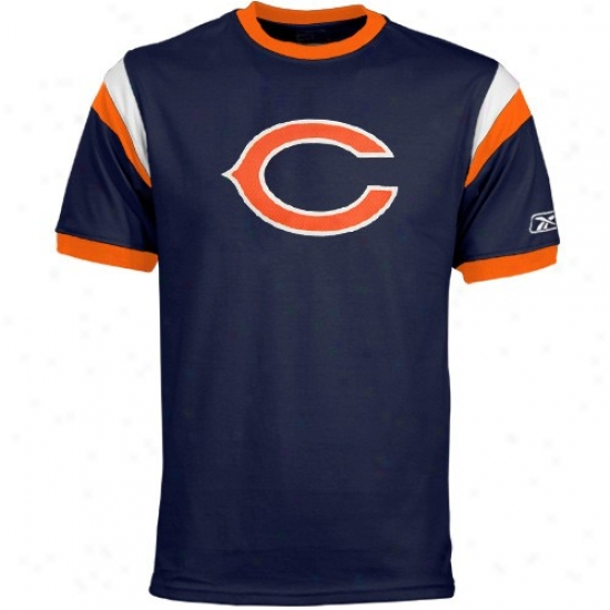Bears T-shirt : Reebok Bears Navy Blue Youth Racer Ringer T-shirt