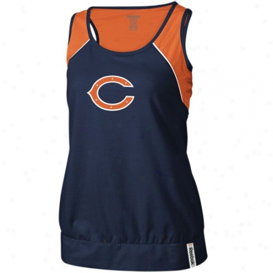 Bears Tee : Reebok Bears Ladies Navy Blue Her Fan Premium Tank Top