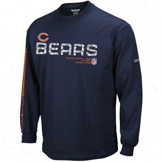 Bears Tee : Reebok Bears Youth aNvy Blue Sideline Tacon Long Sleeve Tee