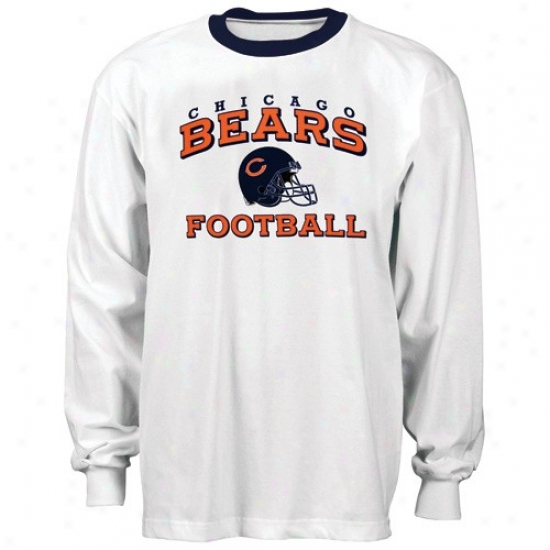 Bears Tees : Reebok Bears White Stacked Helmet Long Sleeve Ringer Tees