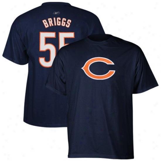 Bears Tshirts : Reebok Bears #55 Lance Briggs Navy Blue Scrimmage Gear Tshirts