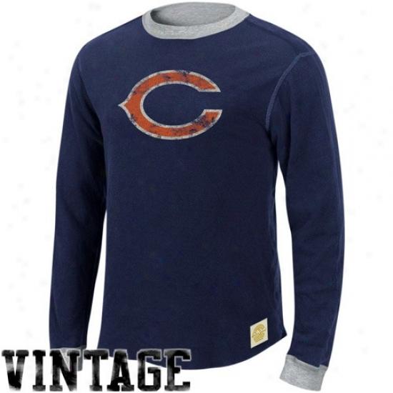 Bears Tshirts : Reebok Bears Ships Blue-ash Reversible Double Knit Long Sleeve Vintage Tshirts