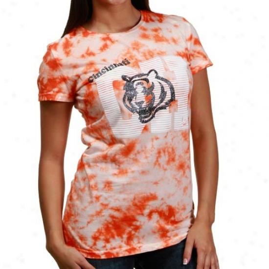 Bengals A0parel: Reebok Bengals Orange Tie-dye Letters Diva Soft Premium T-shirt