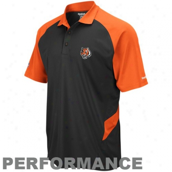 Bengals Clothing: Reebok Bengals Black-orange Sideline Statement Perfomance Pilo