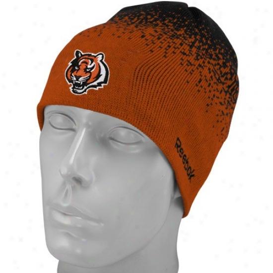 Bengals Hat : Reebok Bengals Youth Orange Fadeout iSdeline 2nd Season Mimic Beanie