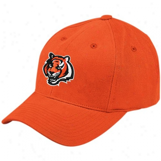 Bengals Hats : Reebok Bengals Orange Brushed Basic Logo Adjustable Hats