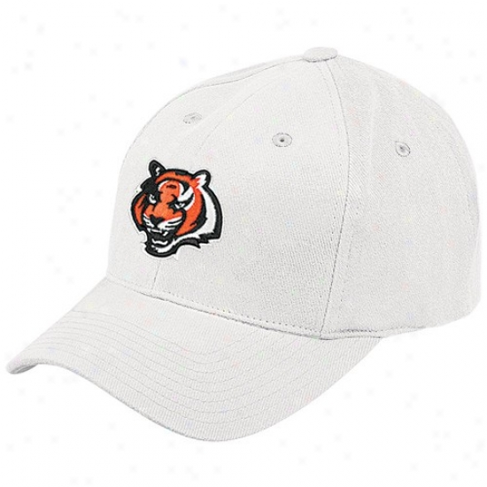 Bengals Merchandise: Reebok Bengals White Brushed Basic Logo Adjustable Hat
