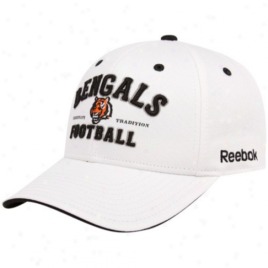 Bengals Merchandise: Reebok Bengals White Tradition Adjustable Hat