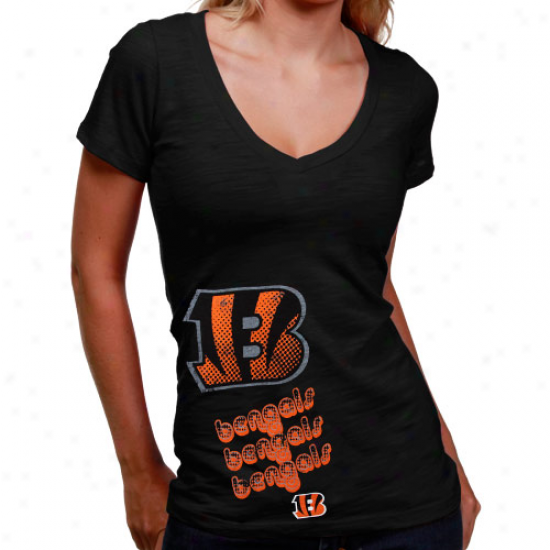 Bengals Shirts : Bengals Ladies Black Triplee Play V-neck Slub Shirts