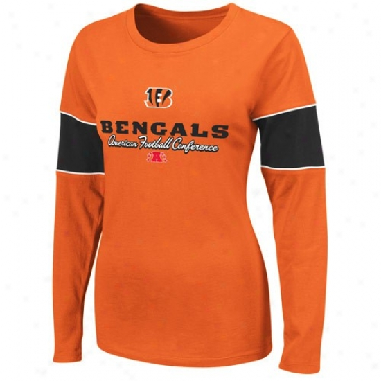 Bengalq Shirts : Bengals Ladies Orange Prized Possession Ii Long Sleeve Shirts