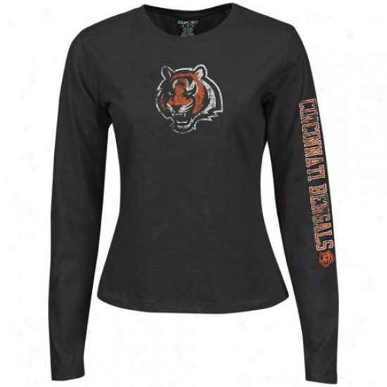 Bengals Shirts : Reebok Bengals Ladies Black Giant Logo Too Long Sleeve Shirts